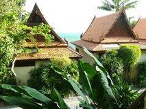 Sea and beatiful houses. Koh samui beach, wonderful stock photography