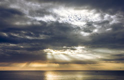 Sea beautiful golden light from the sun. Royalty Free Stock Photography