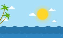 Sea beautiful landscape cartoon vector Royalty Free Stock Photography