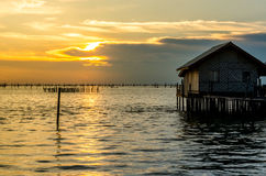 Sea on a beautiful sunset light at Songkhla province, Thailand.  stock photo