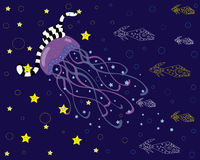 Sea beings, jellyfish, sea serpent, fishes. Royalty Free Stock Photos