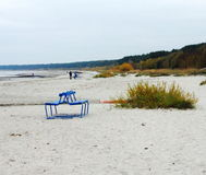 Sea. Bench by the sea in the fall stock photo