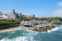 The sea in Biarritz during summer stock photo