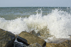 The sea with big rocks on the shore Stock Image