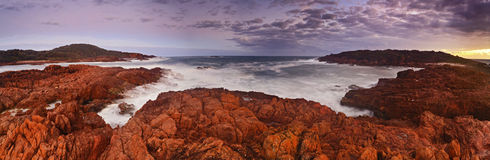 Sea Big Rocky panorama sunset Royalty Free Stock Photography