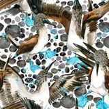Sea bird and boast seamless pattern. watercolor seashore background. Royalty Free Stock Image