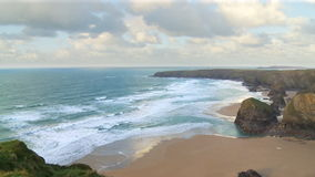 Sea Birds flying around Bedruthan Steps in Cornwall stock video footage