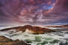 Sea Birubi Beach Rock Rise Stock Images