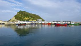 Sea Biscay and Gipuzkoa coast in the harbor of Getaria. Stock Images