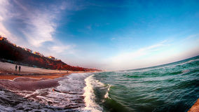 Sea, Black Sea, water, winter, Odessa, Ukraine, sky, foam, waves, beach, sand, shore, slope, HDR Royalty Free Stock Images