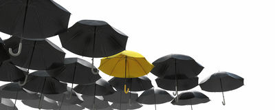 A sea of black umbrella but the yellow one standing out royalty free stock image