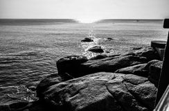 Sea, Black And White, Body Of Water, Water Royalty Free Stock Photos