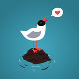 Sea and blackhead seagull in love vector background Royalty Free Stock Photography