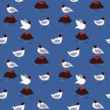 Sea and blackhead seagulls vector seamless pattern Royalty Free Stock Photo