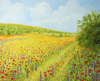 Sea of Blossom II. An oil painting on canvas of a vibrant field with wild spring flowers in a bright sunny day. Poppies, Rapeseed and Hyacinth blossom coloring Royalty Free Stock Images