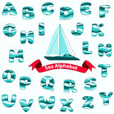 Sea blue Alphabet. Vector illustration Stock Photos