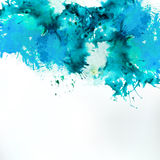 Sea blue centered decorative watercolor background Royalty Free Stock Photography