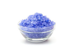 Sea blue color salt in glasses Stock Photos
