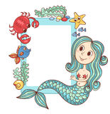 Sea blue frame with the mermaid and marine animals Royalty Free Stock Photos