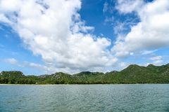 Sea with a blue sky and cloud in summer backdrop mountain background.  stock photography