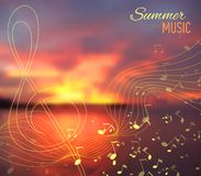 Sea blur background with musical key and notes Royalty Free Stock Images