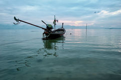 Sea boat art photography. Early morning ocean sunrise stock photos