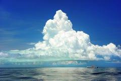 Sea, Boat, Clouds, Cumulous, Marine Stock Image