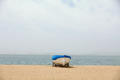 Sea and boat. Fishing boats on the beach Royalty Free Stock Photo