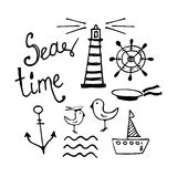 Sea and Boat  Hand-drawn Doodles Stock Photography