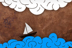 Sea and boat illustration Royalty Free Stock Photo