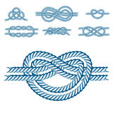 Sea boat rope knots vector illustration isolated marine navy cable natural tackle sign. Navy blue rope with marine knots white pattern vector. Sea boat shipping Royalty Free Stock Photo