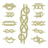 Sea boat rope knots vector illustration isolated marine navy cable natural tackle sign Stock Images