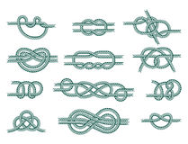 Sea boat rope knots vector illustration  marine navy cable natural tackle sign Royalty Free Stock Images