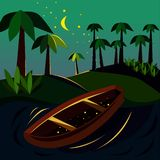 Sea, boat and stars in stock illustration