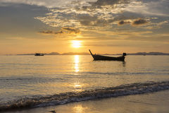 Sea, Boat, Sunset Stock Image