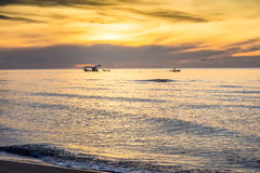 Sea and boat. View from sea in morning royalty free stock photo