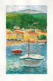 Sea boat watercolor art Stock Photography