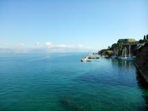 Sea, boats and docks. In Corfu island Greece Royalty Free Stock Image