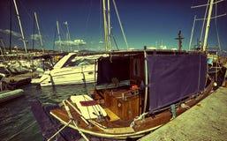 Sea boats in the marine. Deep blue sky and sky. Marine, boats, deep blue sea and sky Stock Photo