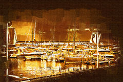 Sea and boats painting Stock Photos