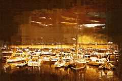 Sea and boats painting Stock Images