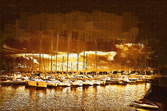 Sea and boats painting Stock Photo