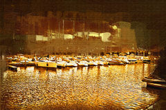 Sea and boats painting Royalty Free Stock Photos
