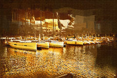 Sea and boats painting Royalty Free Stock Images