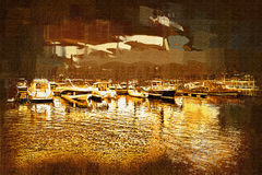 Sea and boats painting Stock Photography