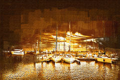 Sea and boats painting Royalty Free Stock Image