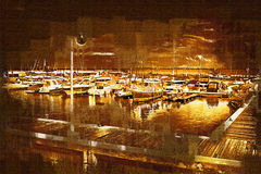 Sea and boats painting Royalty Free Stock Photo