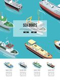 Sea boats in the water. Page with sea boats in isometric view sailing in blue water Stock Photo
