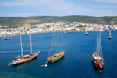 The sea of Bodrum. Tourism in Bodrum in Turkey Royalty Free Stock Images