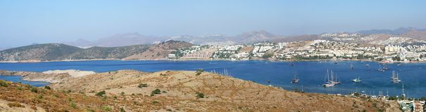 Sea and Bodrum resort, panoramic view Royalty Free Stock Images